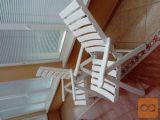 2 lesena vrtna stola, bela,visoki nslon, Novoles NM